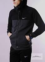 Мужской зимний спортивный костюм Nike черно-серый (реплика)