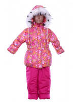 Зимний полукомбинезон с курткой для девочки с мехом от 1 года до 5 лет