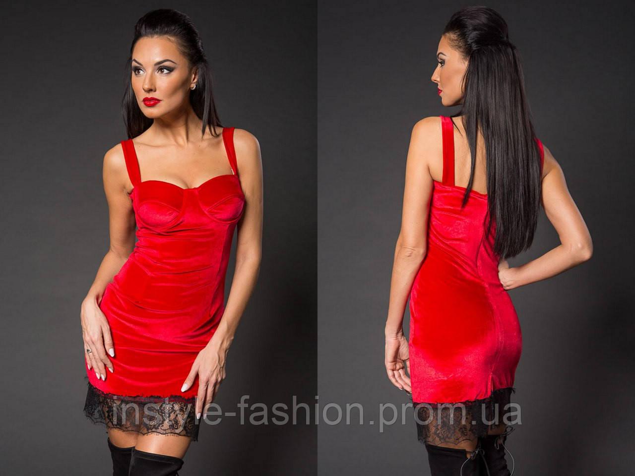 a246a0fa82d Женское модное короткое платье с кружевом из нежного бархата красное ...