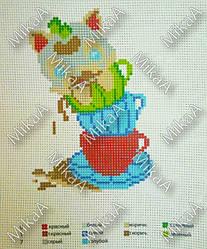Схема нанесенная на канву для вышивки нитками - Щенок в чашках