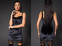 Женское модное короткое платье с кружевом из нежного бархата черное