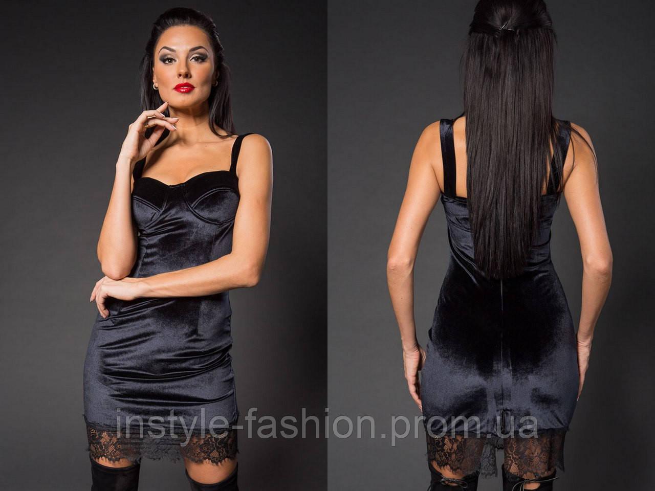 1f0b96a716e Женское модное короткое платье с кружевом из нежного бархата черное ...