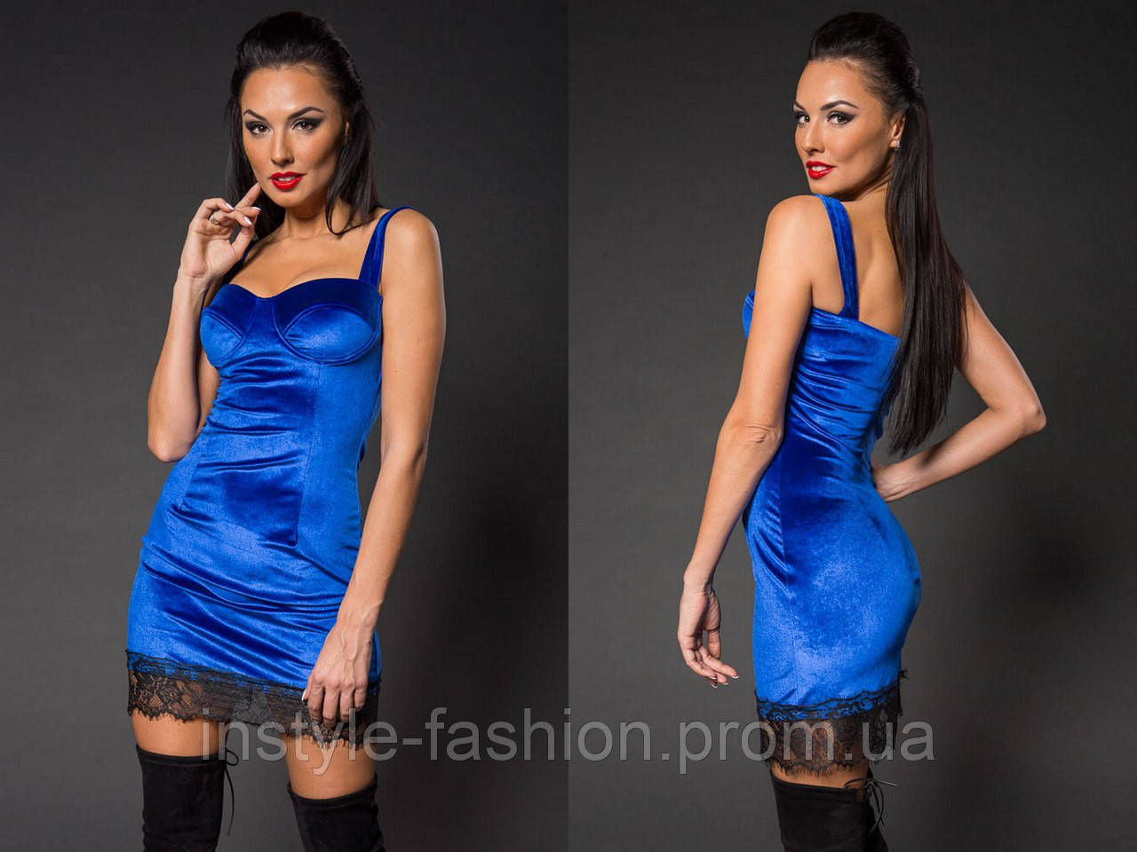 Женское модное короткое платье с кружевом из нежного бархата синее