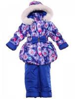 Зимний полукомбинезон с курткой для девочки с мехом Бантик