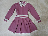 Красивое платье для девочки розовое 128-140