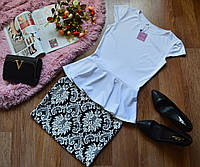 Костюм кофта-баска белый + юбка принт орнамент