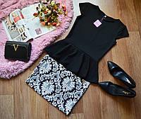 Костюм кофта-баска черный + юбка принт орнамент