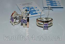 Серебряные серьги с золотыми пластинами 375 пробы, фото 3