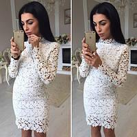 Женское очень красивое и нарядное платье ткань гипюр+подкладка белое
