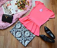 Костюм кофта-баска коралл + юбка принт орнамент
