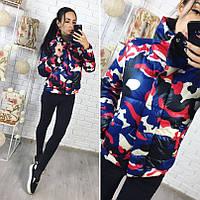 Молодёжная разноцветная короткая тёплая куртка с широким воротником