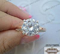 Серебряное кольцо с золотом и фианитом №56з