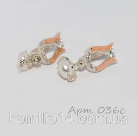 Серебряные серьги с речным жемчугом и  золотыми пластинами 375 пробы