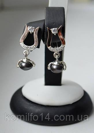 Серебряные серьги с речным жемчугом и  золотыми пластинами 375 пробы, фото 2