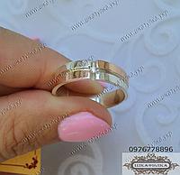 Серебряное кольцо с золотом и цирконом  № 15о