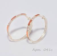 Серебряные серьги-кольца с золотыми пластинами 375 пробы