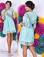 Голубенькое платье с накидкой, комплект - двойка. 5 цветов.