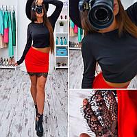 Молодежный костюм топ длинный рукав черный+юбка с французским кружевом красный