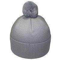 Серая мужская шапка с бубоном на зиму