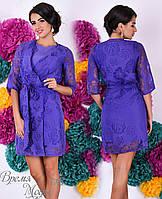 Платье сиреневое с накидкой, комплект - двойка. 5 цветов.