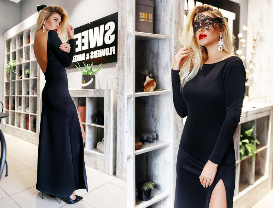 282772b8c92 Элегантное вечернее длинное платье с открытой спиной 253
