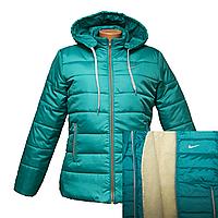 Куртка женская бирюза на меху из цигейки K225H