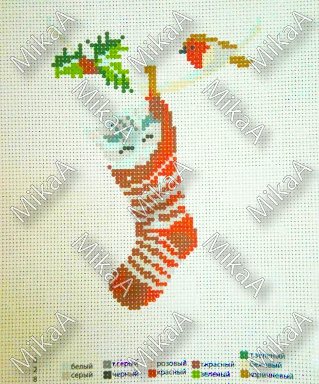 Схема нанесенная на канву для вышивки нитками - Новогодние дремы 2
