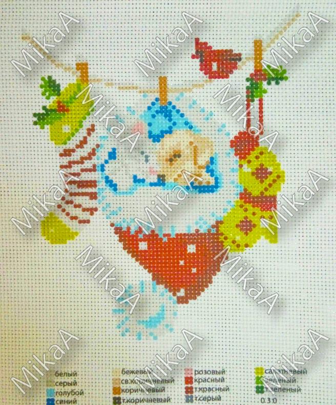 Схема нанесенная на канву для вышивки нитками - Новогодние дремы 3