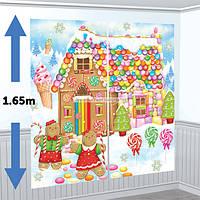 Новогодний декор комнаты  Пряничный домик,  праздничный декор. декорация стен.