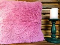 Наволочка травка ( искусственный мех ) розовый