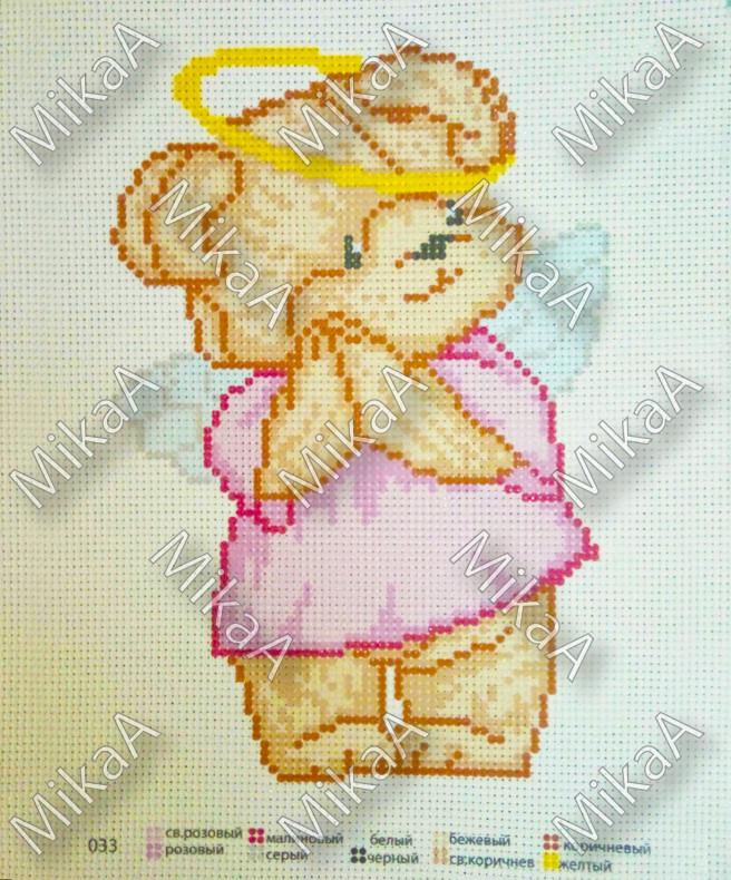 Схема нанесенная на канву для вышивки нитками - Мишутка