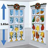 Новогодний праздничный декор  Новогоднее Окно, декорация стен
