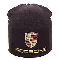 Зимняя шапка-чулок на заклепке Porsche (серая)