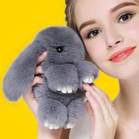 Брелок - серый кролик, меховой брелок. Кролик Фенди, фото 1