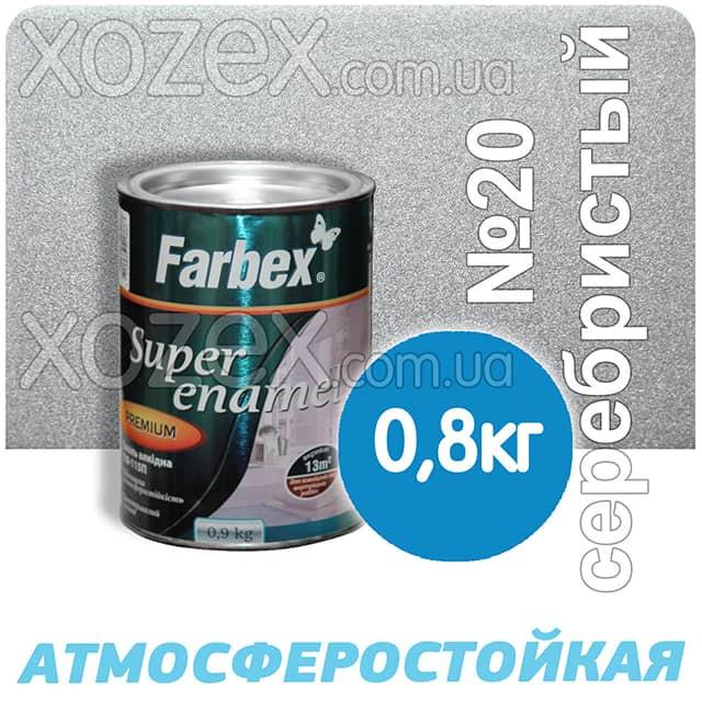 Фарбекс Farbex Краска-Эмаль ПФ-115 Серебристая №20 0,8кг