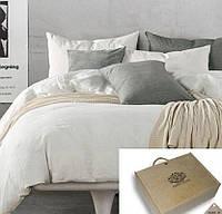 Двуспальное постельное белье, Лен 100% - Жемчуг