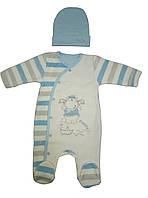 Велюровый комплект для новорожденного мальчика ТМ Фламинго