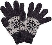 """Шерстяные перчатки женские """"Снежинка черная"""""""