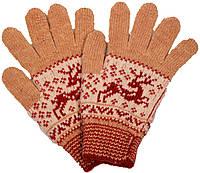 """Шерстяные перчатки женские """"Олень рыжий"""""""