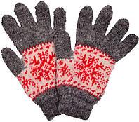 """Шерстяные перчатки женские """"Снежинка красная"""""""
