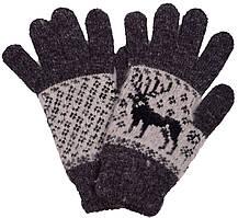 """Шерстяные перчатки мужские """"Олень черный"""""""