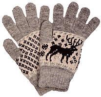 """Шерстяные перчатки мужские """"Олень серый"""""""