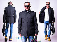 Мужское рябое пальто Карманы