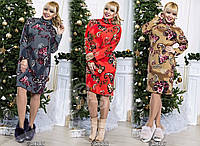 Платье женское ткань:Плотная Ангора, Длина платья-100см; Длина рукава 50см. вб №579