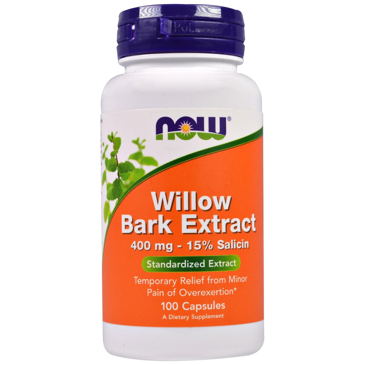 Экстракт коры ивы, Now Foods, 400 мг, 100 капсул