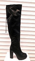 Сапоги-ботфорты женские зимние кожаные на каблуке Uk0368