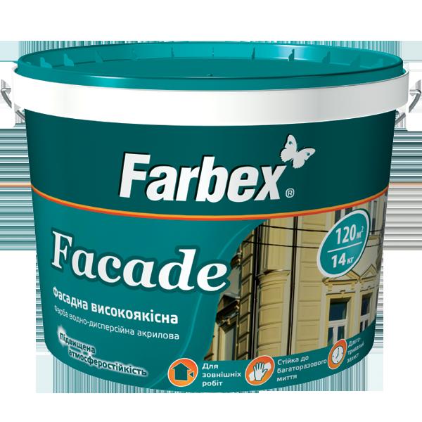 Краска фасадная высококачественная «Facade» (Фасад) ТМ «Farbex», 14 кг (база А)