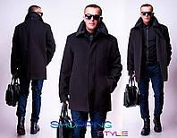 Мужское черное пальто Классика норма-батал