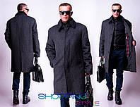 Мужское серое удлиненное пальто Классика норма-батал