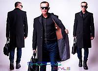 Мужское черное удлиненное пальто Дориан